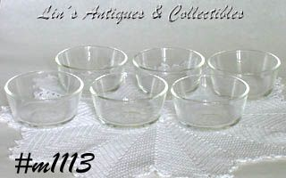 FIRE KING SET OF 6 CLEAR GLASS CUSTARDS OR INDIVIDUAL SALSA BOWLS