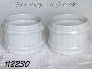 McCOY POTTERY -- TWO BARREL JARDINIERES (WHITE)