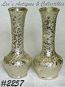 McCOY POTTERY -- GOLDEN BROCADE BUD VASES (2)