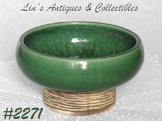 McCOY POTTERY -- PEDESTAL LINE PLANTER (GREEN)