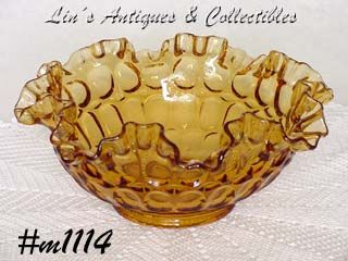 VINTAGE FENTON LIGHT AMBER OR GOLD COLOR RUFFLED EDGE BOWL