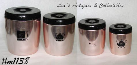 ALUMINUMWARE -- VINTAGE WEST BEND COPPER COLOR CANISTER SET