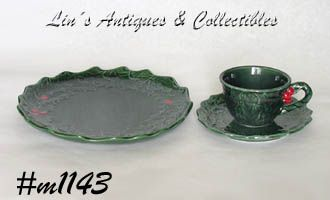 LEFTON CHINA VINTAGE GREEN HOLLY CUP SAUCER AND PLATE
