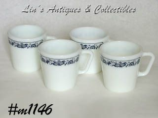 PYREX VINTAGE  OLD TOWN BLUE PATTERN 4 CUPS!