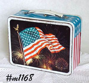 Vintage Patriotic Flag Lunch Box Lunchbox