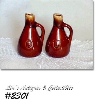 McCOY POTTERY BROWN DRIP VINEGAR AND OIL CRUETS