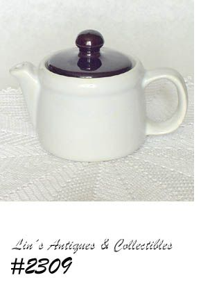 McCOY POTTERY -- SMALL TEAPOT (WHITE WITH BROWN LID)