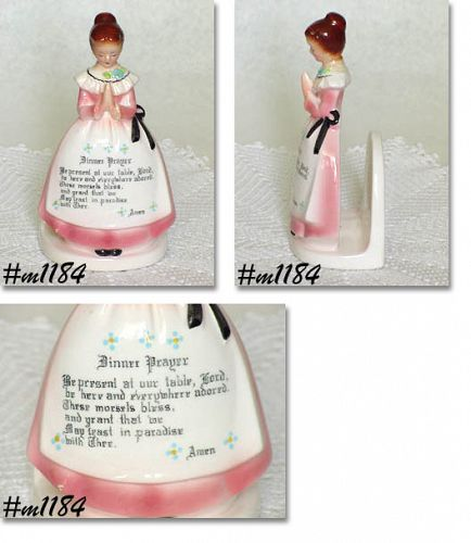 ENESCO PRAYER LADY (MOTHER IN THE KITCHEN) PINK DRESS NAPKIN HOLDER
