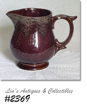 McCOY POTTERY SERVING PITCHER BROWN WITH SPONGEWARE ACCENTS