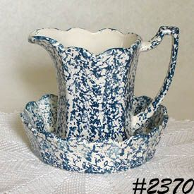 McCOY POTTERY BLUE COUNTRY VINTAGE PITCHER AND BOWL SET
