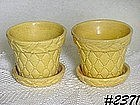 McCOY POTTERY -- LEAVES AND DIAMONDS FLOWERPOTS (2)