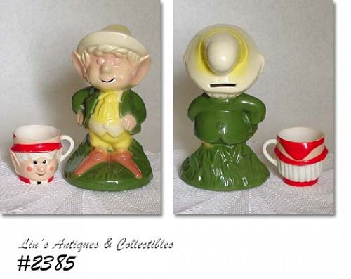 McCOY POTTERY KEEBLER ELF BANK AND AN F & F KEEBLER ELF CUP