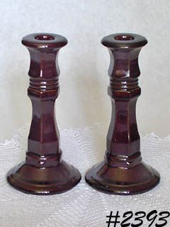 McCOY POTTERY -- TALL CANDLEHOLDERS (BROWN)