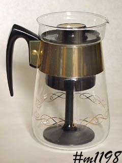 VINTAGE CORNING GLASS COFFEE MAKER STOVE TOP PERCOLATOR