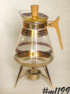 VINTAGE GLASS COFFEE SERVER WITH WARMER