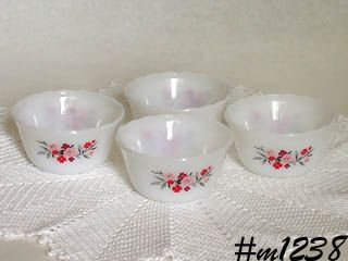 FIRE-KING SET OF 4 CUSTARDS IN PRIMROSE DESIGN PATTERN