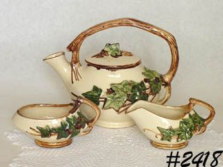 McCOY POTTERY -- VINTAGE IVY TEA SET TEAPOT, CREAMER, AND SAUCER