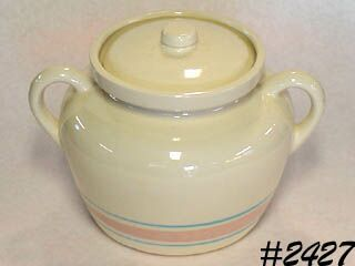 McCOY POTTERY -- PINK AND BLUE BEAN POT (OR CANISTER)