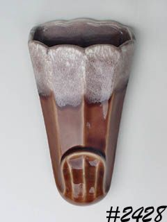 McCOY POTTERY -- BROWN DRIP WALL POCKET