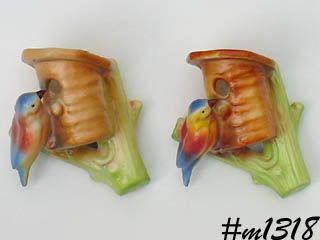 PAIR OF POTTERY BIRD WALL POCKETS MADE IN CZECHOSLOVAKIA