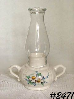 McCOY POTTERY -- FLORAL COUNTRY CANDLEHOLDER LAMP