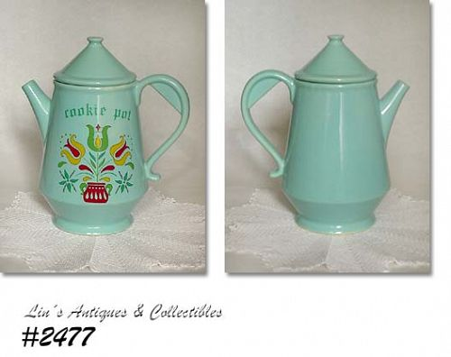 McCOY POTTERY -- VINTAGE AQUA COOKIE POT COOKIE JAR