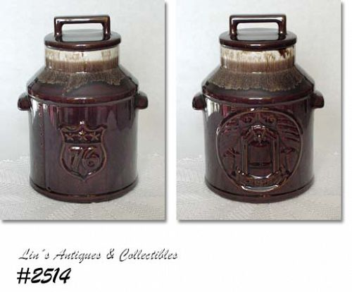 McCOY POTTERY -- BICENTENNIAL BROWN DRIP COOKIE JAR