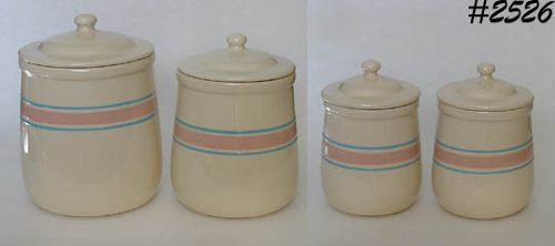McCOY POTTERY -- PINK AND BLUE CANISTER SET