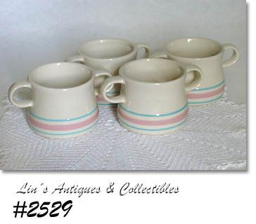 McCOY POTTERY -- PINK AND BLUE HANDLED SOUPS (4)