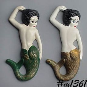 CHALKWARE -- PAIR OF MERMAID WALL PLAQUES
