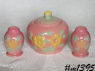 HULL POTTERY VINTAGE SUNGLOW COVERED CONTAINER AND MATCHING SHAKER SET