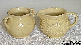 SHAWNEE POTTERY -- FLOWER AND FERN CREAMER AND SUGAR