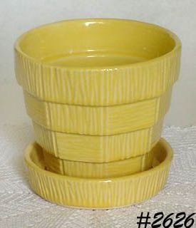 McCOY POTTERY YELLOW BASKETWEAVE 5 INCHES TALL FLOWERPOT