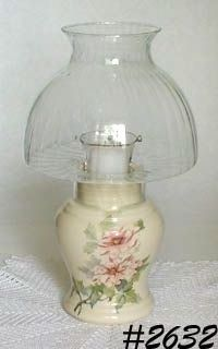 McCOY POTTERY -- PINK PEONIES CANDLE LAMP