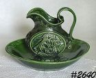 McCOY POTTERY VINTAGE CLIPPER SHIP GREEN PITCHER AND BOWL