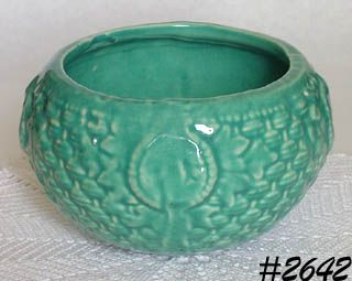 McCOY POTTERY AQUA COLOR HANGING BASKET PLANTER MADE IN 1940s
