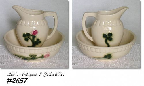 BRUSH - MCCOY VINTAGE  RED CLOVER PITCHER AND BOWL