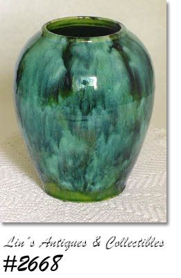 "McCOY POTTERY -- GREEN ONYX JAR VASE (6 5/8"")"