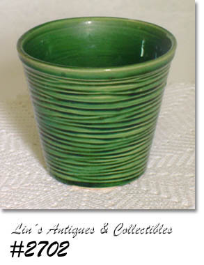"McCOY POTTERY -- 4 1/8"" TALL GREEN JARDINIERE"