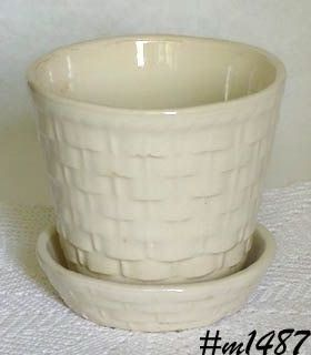 MORTON POTTERY WHITE BASKETWEAVE 4 3/4 INCHES TALL  FLOWERPOT