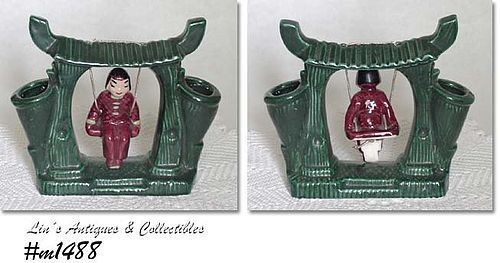 HOLLYWOOD CERAMICS -- VINTAGE VASE WITH ORIENTAL GIRL ON SWING