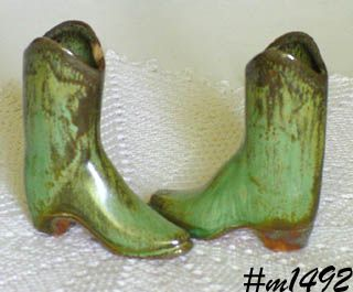 FRANKOMA POTTERY VINTAGE PRAIRIE GREEN PAIR OF MINIATURE BOOTS