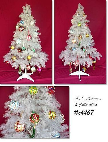 VINTAGE WHITE PLASTIC CHRISTMAS TREE DECORATED WITH HANDMADE ORNAMENTS
