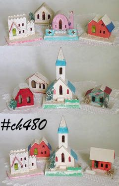 CHOICE OF VINTAGE CARDBOARD HOUSES AND CHURCH SETS MADE IN JAPAN