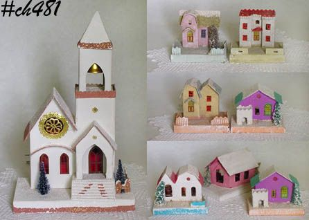 VINTAGE LARGE CARDBOARD CHURCH AND 7 HOUSES MADE IN JAPAN