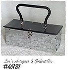 WOVEN SILVER COLOR METAL HANDBAG WITH BLACK LID AND HANDLE