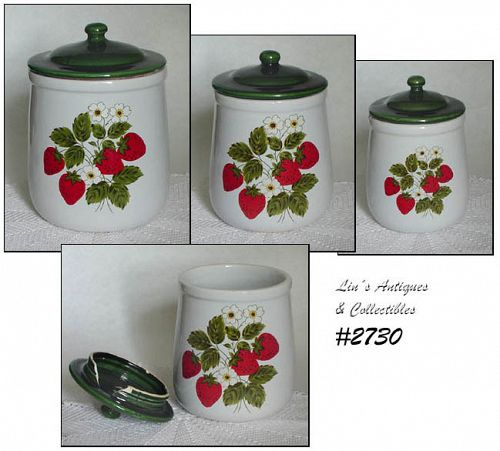 McCOY POTTERY STRAWBERRY COUNTRY CANISTERS SEE ITEM DESCRIPTION
