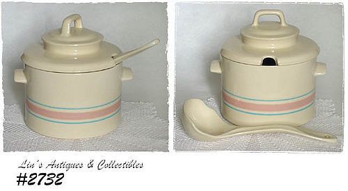 McCOY POTTERY -- STONECRAFT PINK AND BLUE COVERED TUREEN WITH LADLE