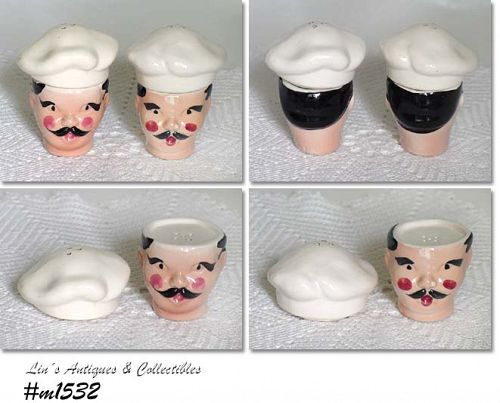 KREISS CERAMICS -- CHEF SALT AND PEPPER SHAKER SET