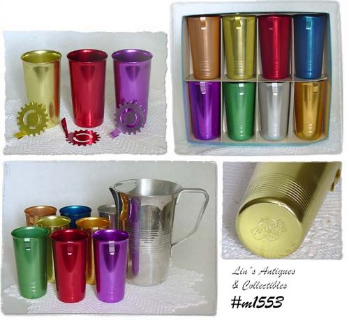 ALUMINUMWARE VINTAGE KROMEX LEMONADE SET 8 TUMBLERS AND STRAINERS